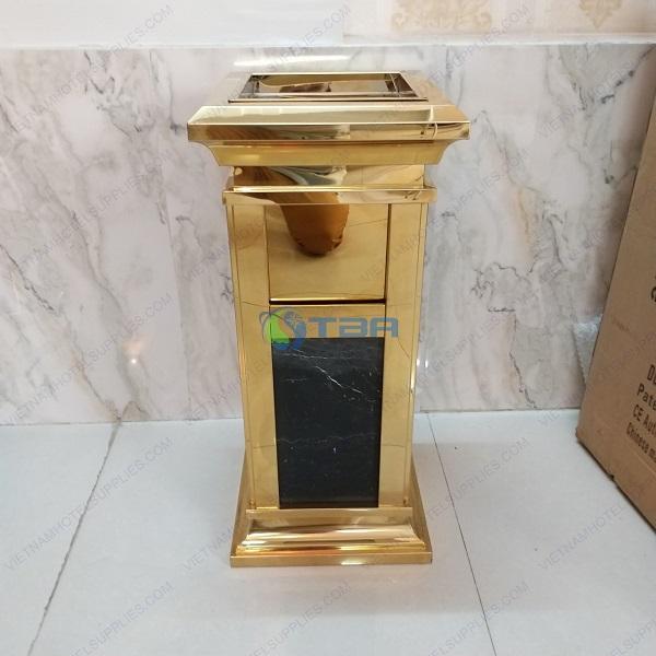 Thùng rác đá hoa cương mạ vàng đặt khách sạn
