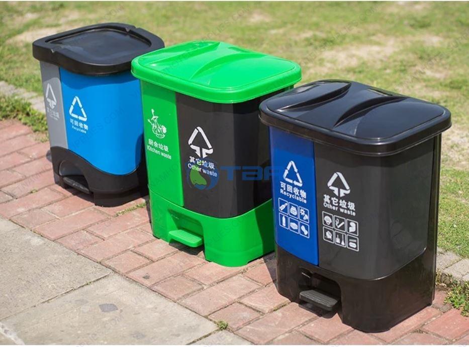 Thùng rác nhựa phân loại 2 ngăn