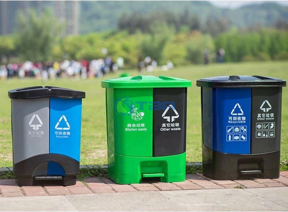 Thùng rác nhựa đạp chân 2 ngăn
