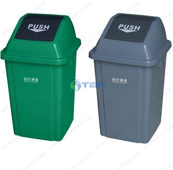 Thùng rác nhựa nắp lật màu xanh - xám