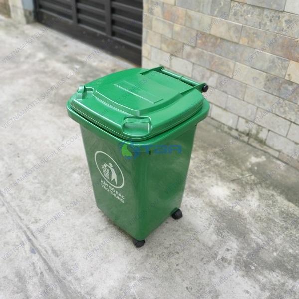 Thùng rác nhựa công nghiệp màu xanh 60 lít