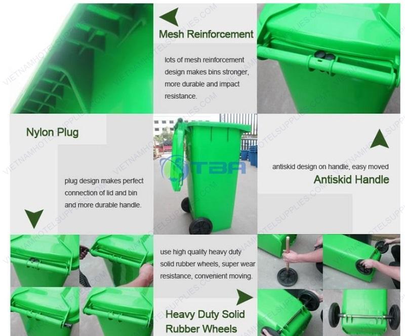 thùng rác nhựa công nghiệp nắp kín có bánh xe 120L