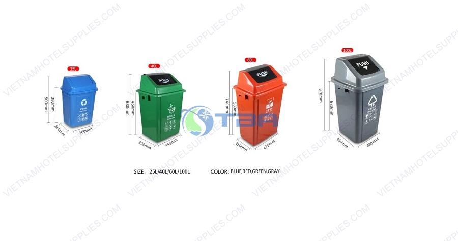 Thùng rác nhựa công nghiệp nắp lật