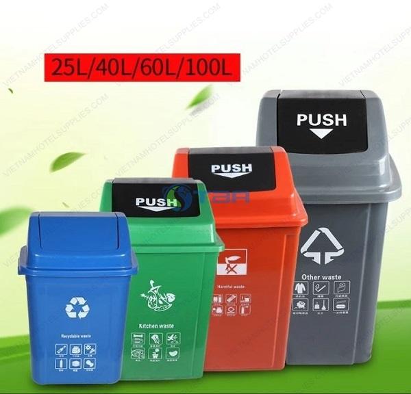 Thùng rác nhựa phân loại nắp lật