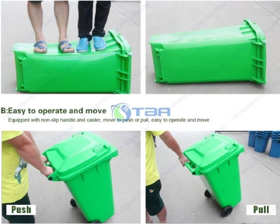thùng rác nhựa công nghiệp nhà xưởng 240L