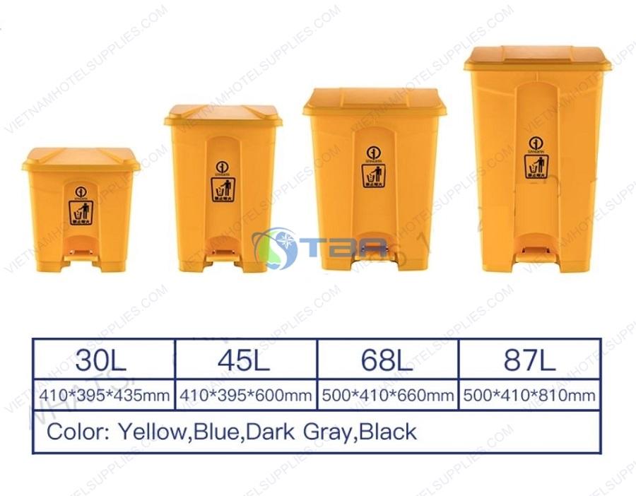 Thùng rác y tế đạp chân vàng 15-20-30-45-68-87 lít