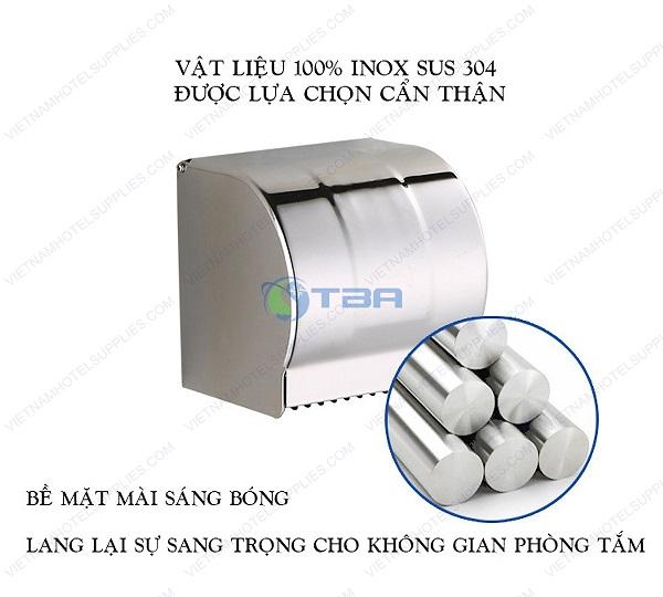 Hộp đựng giấy vệ sinh inox cuộn tròn nhỏ trong toilet