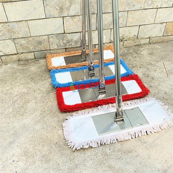 Cây lau sàn nhà siêu sạch bệnh viện san hô xanh - nâu - đỏ - cotton trắng