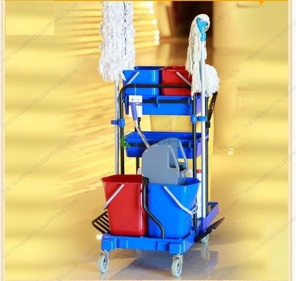 Xe dọn vệ sinh đa năng bệnh viện có xô