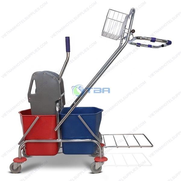 Xe dọn vệ sinh đa năng vắt nước cây lau sàn nhà có giỏ đựng đồ và giá đỡ