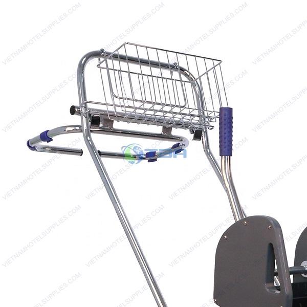 xe vắt nước cây lau sàn nhà công nghiệp 02 ngăn có giỏ treo