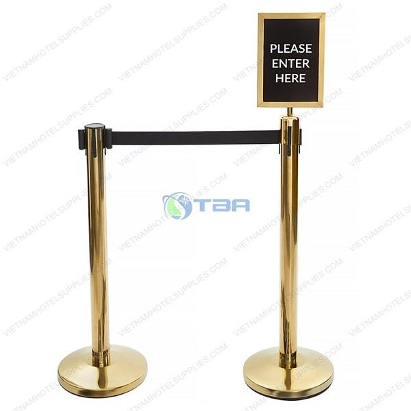 Cột chắn inox mạ vàng cao cấp dây căng màu đen