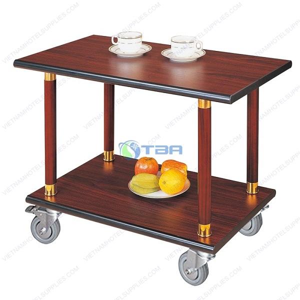 Xe đẩy cao cấp phục vụ rượu trà trái cây bằng gỗ