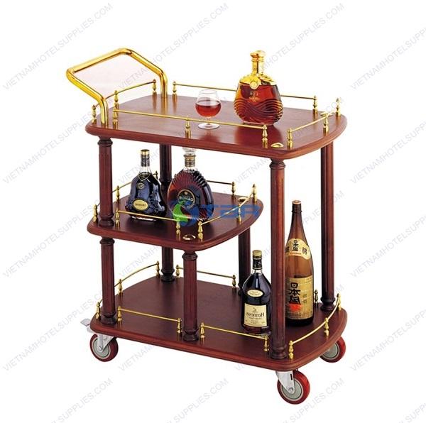 xe đẩy phục vụ rượu trà cao cấp 3 tầng bằng gỗ