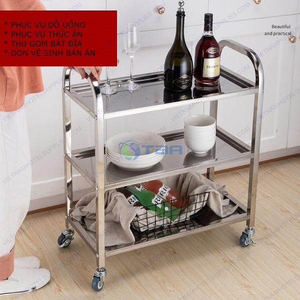 Xe đẩy inox phục vụ thức ăn đồ uống nhà hàng quán ăn