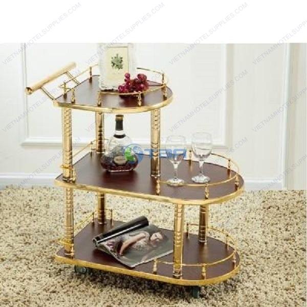 Xe đẩy rượu trà bằng gỗ cao cấp khách sạn nhà hàng