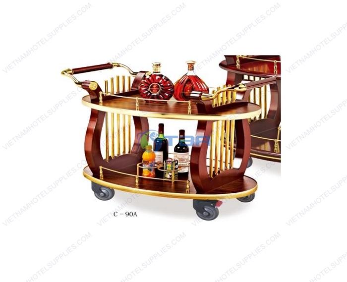 Xe đẩy rượu trà khay gỗ khung inox vàng hình Oval