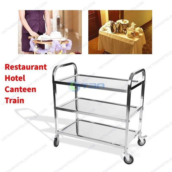 xe đẩy thực phẩm thức ăn inox ba tầng