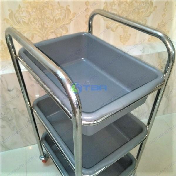 Xe đẩy vệ sinh thu dọn bàn ăn nhà hàng khách sạn